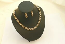 Rare Vintage Hm 9ct Solid Gold Rollerball Link Necklace And Earrings 46.87 G