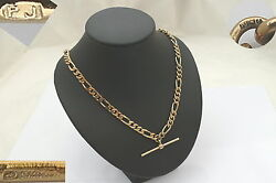Superb Hm 9ct Gold Figaro Link Necklace With T Bar 28.1 G
