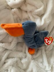 Scoop Beanie Baby With PUGSLY Swing Tag EXTREMELY RARE MWMT PVC Pellets