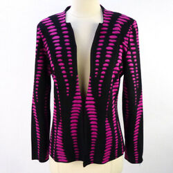 Ming Wang BlackMagenta Blazer Sweater Jacket S Op-Art Graphic Design Hook Front