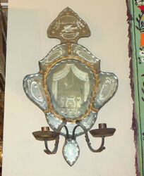 Stunning Antique Venetian Italian Hand Etched Mirror Wall Sconce Candleholder