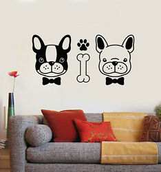 Vinyl Wall Decal Couple Dogs Cute Pets Animals Grooming Nursery Stickers g1325