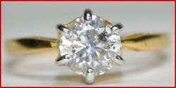 Black Friday 1.05ct Solitaire Diamond 18k Solid Yellow Gold Band Ring In Size 7