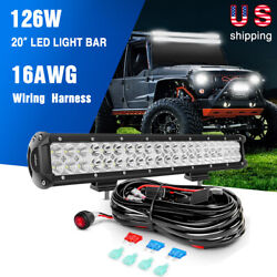 Nilight 20inch Led Light Bar 126w For Offroad 4x4 4wd Car Lamps + Wiring Harness