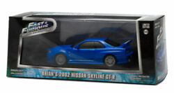 Greenlight Nissan Skyline Gtr 2002 Blue Fast And Furious 1/43 Limited Edition