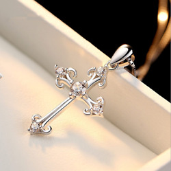 Women 925 Sterling Silver CZ Cubic Crystal Cross Pendant Necklace Diamante S2 $10.95