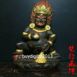 Tibet Buddhism Red Sandalwood Mammon Black Jambhala God Of Wealthy Buddha Statue