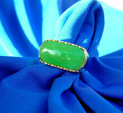 1920s Deco Antique old Imperial green Jadeite Jade Engagement ring 18k Gold
