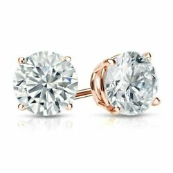 Christmas Special 1.50 Ctw Real Round Diamond Basket Stud Earrings 14k Rose Gold