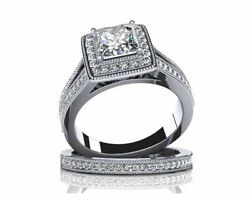 1.13 Ct Princess Simulated Diamond Engagement And Wedding Rings In 14k White Gold