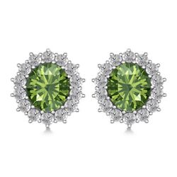 Emerald And Diamond Halo Cluster Studs Earrings 10k White Gold