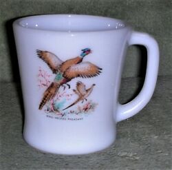 Anchor Hocking Fire King Mug Ring-necked Pheasant Game Bird Excellent