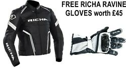 Richa Monza Black/white Motorcycle Sports Ce Leather Jacket With Free Gloves