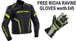 Richa Monza Black/fluo Yellow Motorcycle Sports Ce Leather Jacket Free Gloves