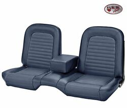 1964-1/2 -1965 Ford Mustang Coupe Blue Front And Rear Bench Seat Upholstery - Tmi
