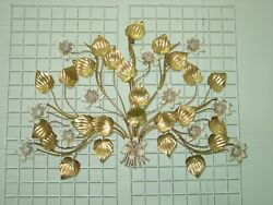 Vintage Italy Tole Metal Lighted Large 42 X 36 8-light Wall Art Sconce