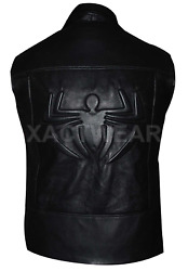 Spider Man Noir Stylish Costume Nicolas Cage Leather Vest All Sizes Best Quality
