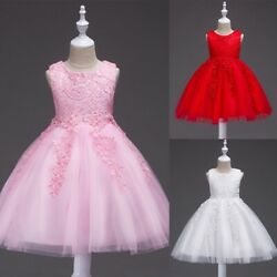 Flower Girl Princess Lace Bridesmaid Wedding Dress Gown Tulle Tutu for Kids USA