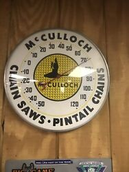 1950'smcculloch Chain Saws Thermometer Advertising Sign Add To Porcelain Sign