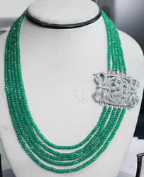 Cyber Monday 3.70ct Natural Round Diamond 14k White Gold Emerald String Necklace