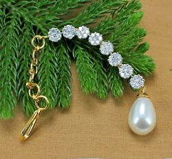 1.91ct Natural Round Diamond 14k Solid Yellow Gold Pearl Wedding Hair Jewellery