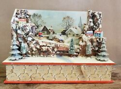 Vintage Early German Winter Scene Music Box Crank Toy