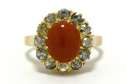 Victorian Coral Diamond Halo Antique 18k Gold Cocktail Oval Dome Engagement Ring