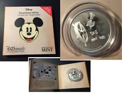 D23 Expo 2019 Niue 2 2017 Disney Mickey Mouse Silver Coin Steamboat Willie Le50