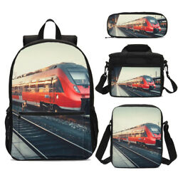 Motor Train Backpack Kids Boys Red Schoolbag Insulated Lunch Bag Pencil Case LOT