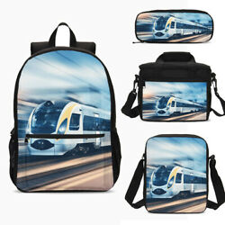 Motor Train Kids Backpack Boys Schoolbag Blue Insulated Lunch Bag Pen Bag Lot