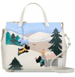New Radley At Home In The Snow Leather Satchel Cheerful Winter Zip Closure Bag