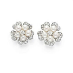 Christmas 1.56ct Natural Round Diamond 14k Solid White Gold Pearl Stud Earring
