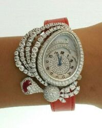 925 Sterling Silver Womenand039s Wrist Watch Simulated Diamond Red Oval Faux Leather