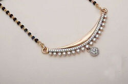 Christmas1.45ct Natural Round Diamond 14k Solid Yellow Gold Mangalsutra Necklace