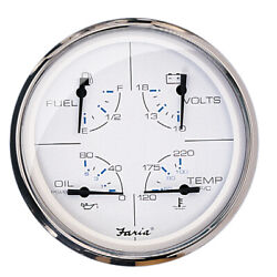 Faria 5 Multifunction Gauge Chesapeake White, Fuel, Oil, Water And Voltmeter33864