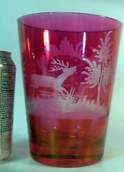 Vtg Bohemian Czech Cranberry Flashed Glass Vase Etched Stag Deer Nature