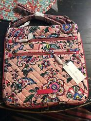 Nwt Vera Bradley Iconic Triple Zipper Hipster Stitched Flowers Purse Bag Large