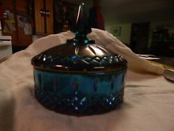 Vintage Iridescent Carnival Glass Candy Dish With Lid Blue Purple Harvest Grape
