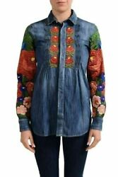 Dsquared2 Women's Denim Embroidered Button Down Shirt Us Xs It 38