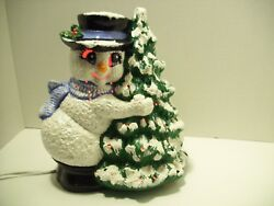 Vintage Ceramic Mould Lighted Christmas Tree Snowman Decoration Handpainted