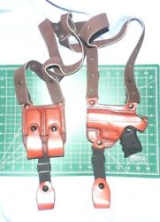 Tagua Sh4-308 Lh Leather Shoulder Holster Dual Magazine Pouch Glock 42 380acp