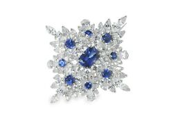 Soild 925 Sterling Silver Cluster Brooch Pin Blue Cushion White Cluster CZ New