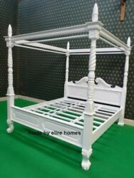 Bespoke 5and039 King Size Queen Anne Style Four Poster St James Mahogany French Bed