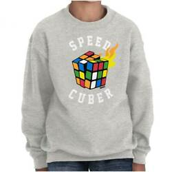 Speed Cuber Official Rubik's Cube Puzzle Gift Kids Youth Crewneck SweatShirts $14.99