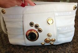 Gustto White Leather Gold Clutch $45.00