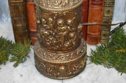 Antique Large Table Lamp Brass Finish Relief Cherubs Music Instruments Pat 1907