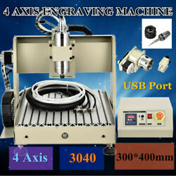 USB 4Axis 3040 CNC Router Engraver Milling Drilling Cut 800W  VFD Spindle Motor