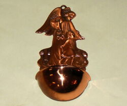 Vitg Copper Guardian Angel Child Lilies 4 3/4 Holy Water Font Christian
