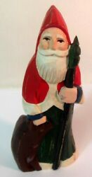 Vtg Midwest Of Cannon Falls Mn Carved Wood Santa Father Christmas Bear Folk Art