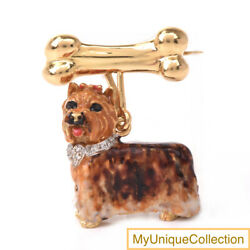 Sol Basha 18K Gold Yorkshire Terrier Diamond Enamel Brooch 34.5 Grams